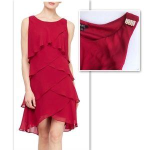 NWT SLNY Chiffon Tiered Bejeweled Dress